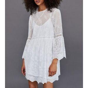 Zara white embroided lace perforations mini dress